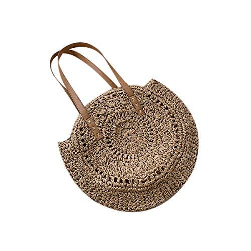 louzheni Mode Damen Strohtasche Strandtasche Umhängetasche Outdoor Handtasche Schultertasche Shopper Henkeltasche Clutches Tragetaschen Geldbörsen Taschen (Warenkorb-geschenk-korb)