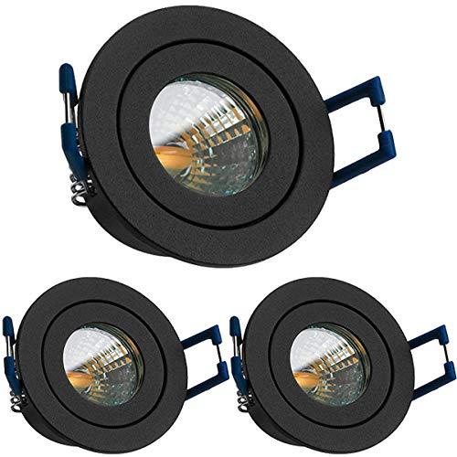 3er IP44 LED Mini Einbaustrahler Set in Anthrazit Grau mit LED MR11 / GU5.3 Strahler von LEDANDO - 2W - 160lm - warmweiss - 60° Abstrahlwinkel - 20W Ersatz - Bad/Dusche - Terrassendach - Wintergarten - Leuchte Mit Niedervolt-beleuchtung