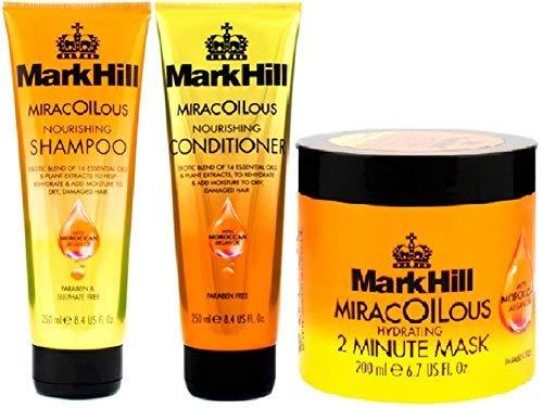 Genießen Hydrating Conditioner ((3Pack) Mark Hill Haar miracoilous Pflegende Shampoo X 250ml & Mark Hill Haar miracoilous Klimaanlage X 250ml & Mark Hill miracoilous Hydrating 2Minute Maske X 200ml)