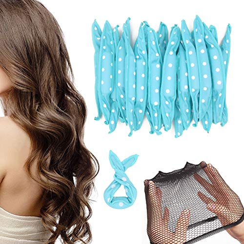 20 rizadores de pelo de espuma, flexibles con lunares azules, herramientas de peinado para bricolaje...