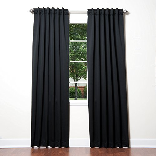 Best Home Fashion Thermal Insulated Blackout Curtains - Back Tab/ Rod Pocket - Black - 52W x 84L - No tie backs (Set of 2 Panels) by Best Home Fashion (Tie-tab-panel)