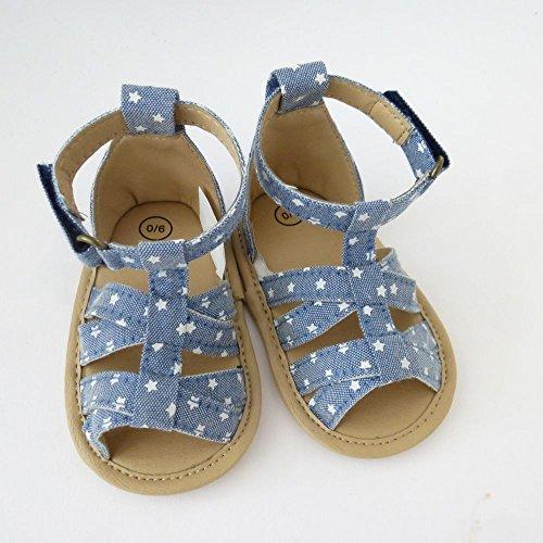NEU   Mädchen Schuhe Hausschuhe Sandalen   blau mit Sternen   0 bis 12 Monate 6-12 Monate