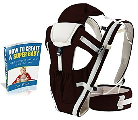 Premium Baby Carrier by CacaBabies, 4-in-1 Ergonomic, Lightweight, Comfortable for Newborns, Toddlers and Infants. Includes FREE E-Book! (Khaki)