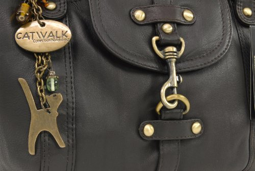 """Lederhandtasche """"Karlie"""" von Catwalk Collection - GRÖßE: B: 37 H: 25 T: 15 cm Braun"""