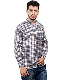 MENS FULL SLEEVES STYLIST CASUAL SLIM FIT CHECKS SHIRT - B07B98QG5D