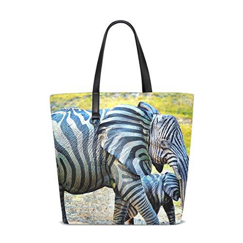 XiangHeFu Bolso de hombro para mujer, diseño de elefantes de cebra, tejido...