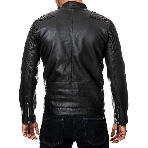 Prestige Homme Herren Biker-Jacke Kunst-Leder Gesteppt MR08 Schwarz