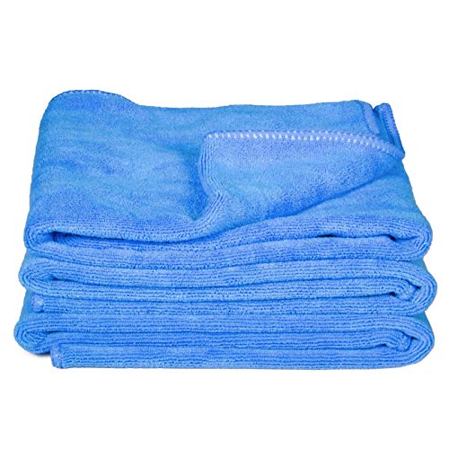 cosey - 3er Pack, Flauschiges Mikrofaser-Handtuch, 40x60cm, blau