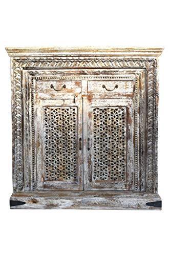 Orientalische Kommode Sideboard Akhila 110cm Braun Shabby Weiß | Orient Vintage Kommodenschrank orientalisch Handverziert | Indische Landhaus Anrichte aus Holz | Asiatische Möbel aus Indien