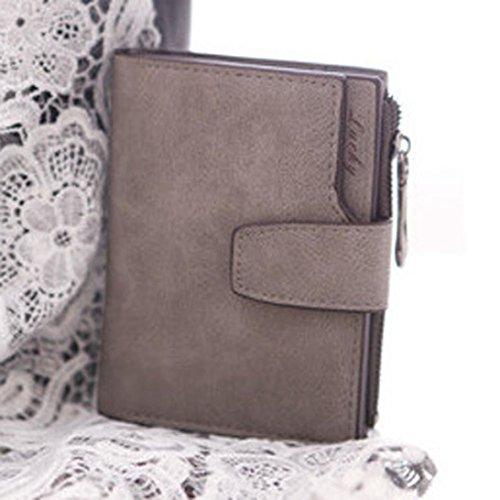 Geldbörse DDLBiz® Frauen Mini Bifold Leder Geldbörse Card Inhaber Geldbörse (Grau) -