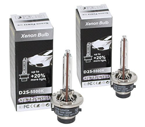 20 Zwei-licht (2x Original ATN-LICHT24 D2S PK32d-2 HID Xenon Brenner Lampen COOL BLUE +20% Licht 5500K (2-Stück) Ersatzbrenner Xenon-Duobox & lange Lebensdauer!)