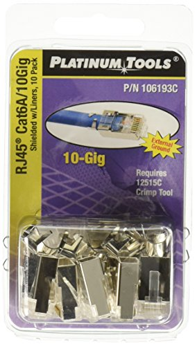 Platinum Tools 106193C RJ45 Cat6A 10 Gig Shielded Connector with Liner, 10-Pack by Platinum Tools -