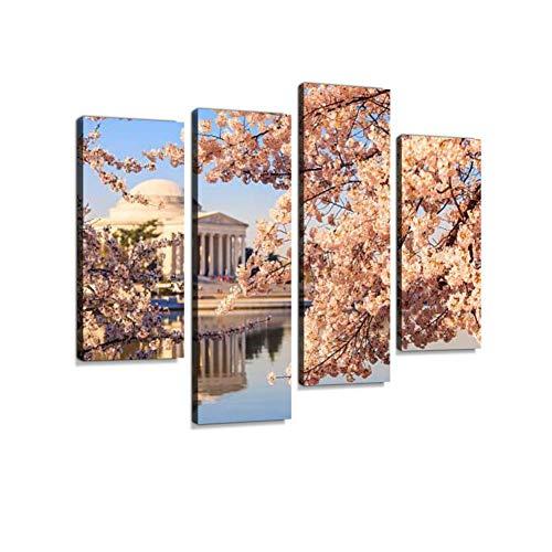 LIS HOME Das Jefferson Memorial während der Kirschblüte Festival Leinwand Wandkunst hängen Gemälde Moderne Kunstwerke abstrakte Bild Drucke Dekoration Geschenk einzigartig gestaltet gerahmt 4 Panel -