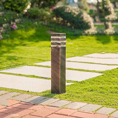 Retro Wegeleuchte Außen Outdoor Bronze Sockellampe Gartenlampe Aluminium und Acryl Terrassenlampe Wasserdicht IP44 Pollerlampe für Rasen Eingangs Terrassen Patio Park Pfad Hof 9 * 13 * 40CM -