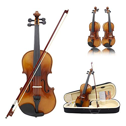 Violino studente Fiddle Kit Completo Completo Lucido Completo 4/4 Violino Full Size Con Custodia Rigida Accendino ad arco Chin Rest Corde di ricambio Ponte Rosin Abete massiccio in legno Per studenti