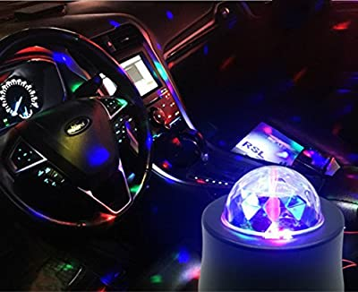 cuzile USB Mini DJ Lights Car Auto Disco Stage Light LED RGB Sound Actived Crystal Magic Rotating Ball Lights Effect For Car KTV Xmas Party Wedding Show Club Pub Color Changing Lighting
