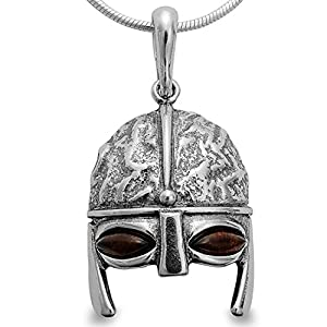 Bernsteinschmuck Anhänger Ritter Maske Wikinger Helm 923 Sterlingsilber Männer Herren Schmuckanhänger #1644