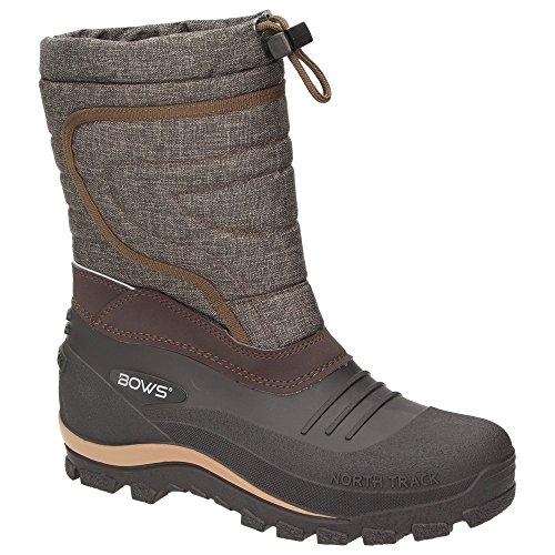 BOWS® -BENTE- Herren Damen Kinder Unisex Schnee Stiefel Winter Boots Schlupf Schuhe gefüttert wasserdicht Wasserabweisende, Schuhgröße:48, Farbe:braun