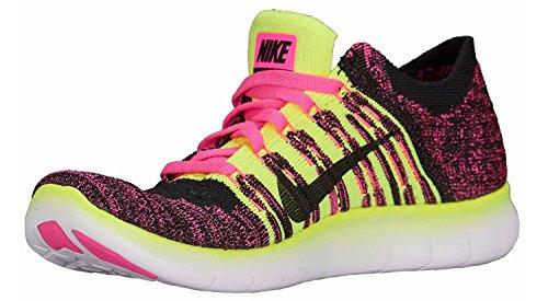 Nike Free Rn Flyknit (Gs), Scarpe da Corsa Bambina Rosa (Pink Blast / Metallic Silver-Volt-Black)