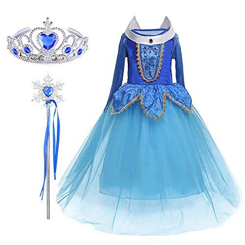 FStory&Winyee Mädchen Kostüm für Karneval Kinder Prinzessin Dornröschen Aurora Kostüm Kleid Set Krone Zauberstab Geschenk Cosplay Verkleidung Fasching Party Weihnachten Kindergeburtstag Festkleid Blau (Aurora Blau Kleid Kostüm)