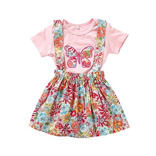 aiyvi Kleinkind Baby Mädchen Bekleidungssets,Kinder Schmetterling Strampler Tops Blumen Drucken Over Rock Outfits Kleidung Set,Süß und Lieblich,für 0-3 Jahre Mädchen