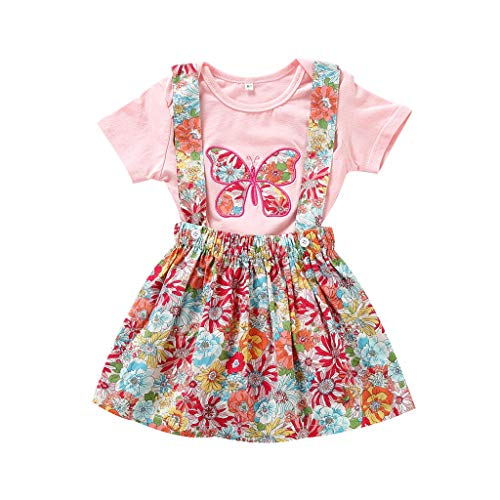 DressLksnf Baby Mädchen Kinderkleidung Set Kleinkind Kurzarm Druck Overall + Sling Kleid 2-teiliges Set