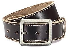 Eg-Fashion Stylischer Jeansgürtel Herren Büffelleder-Gürtel in 4,5 cm Breite - Ziernaht am Rand - Individuell kürzbar (Bundweite: 125cm = Gesamtlänge: 140cm, Braun)