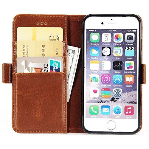 BCIT iPhone 6 Hülle - [Premium Leder Serie] Schutzhülle PU Leder Flip Tasche Case mit Integrierten Kartensteckplätzen und Ständer für iPhone 6 - Rot Braun