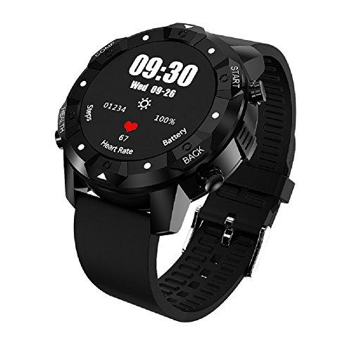 GPS Smarte Uhren - Fitness-Tracker Herzfrequenzmonitore IP67 Wasserdicht Kompass Wettervorhersage Sport Uhr,OOLIFENG,Black