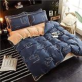 AZSUR Vier Stück Baumwolle bedeckt Bettdecke, Reine Baumwolle Korallen Haufen Bettwäsche, Herbst und Winter Warmes Bett Gesetzt, 1,5 * 2,0 m, Dolphin