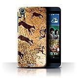 Custodia/Cover Rigide/Prottetiva STUFF4 stampata con il disegno Pitture Rupestri per HTC Desire 626 - Cacciatori/Marrone
