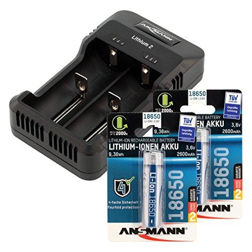 ANSMANN Lithium 2 Ladegerät für 1-2 Li-Ion oder NiMH Akkus/Akkuladegerät für E-Zigaretten Akkus & 1 2V AAA & AA NiMH Akkus/Mit LED-Ladestatusanzeige & USB Kabel/inkl. 2 x 18650 Zellen