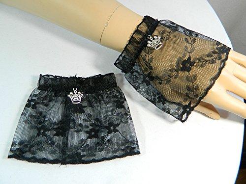 Spitze schwarz Krone Manschetten Stulpen Handschuhe Armstulpen (Hexe Krone)