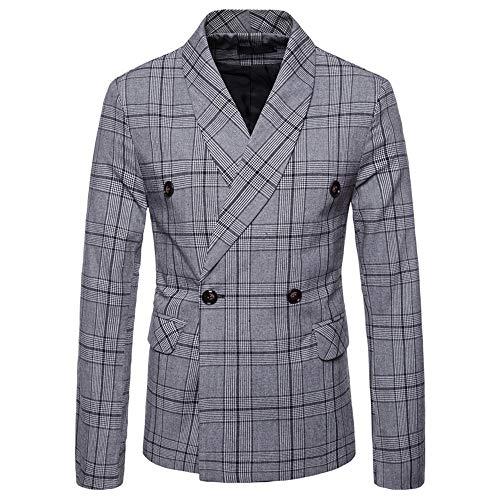 Safari Long Sleeve Tee (Oliviavane Herren Mode Kariert Langarm Blazer Anzug New Fashionable Checked Zweireiher Jacke Button Lattice Coat Streetwear Freizeit Sakko Blazer)