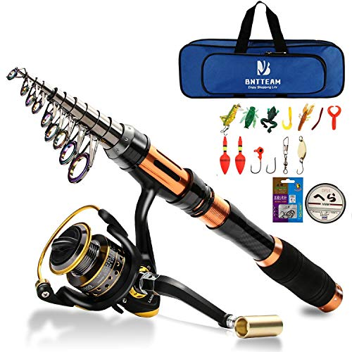 Bntteam mulinello da pesca e asta combos telescopica portatile resistente, al 99% al carbonio, sea fishing rod & reel+esche artificiali+set di lenza da pesca (set completo/3.0m/118in/9.84ft)