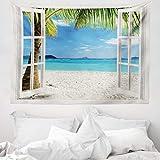 ABAKUHAUS Turchese Tappeto da Parete e Copriletto, Tropical Beach Palme, Lavabile e Senza Colori sbiaditi, 150 x 110 cm, Blu Verde e Bianco