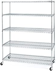 Seville Classics MEGA RACK UltraDurable Commercial-Grade 5-Tier NSF-Certified Steel Wire Shelving with Wheels,