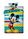 Mickey Mouse Bettwäsche-Set für Einzelbett, 100 % Baumwolle, mit hellblauen Streifen
