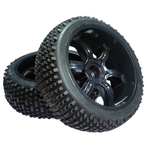 1:6 Off-Road Räder Reifen kplt. inkl. Felgen Ø 175mm / 1 Paar (18mm Vierkant Mitnehmer) passend für Carbon Fighter 1 und 4WD - 175 Mm, Carbon
