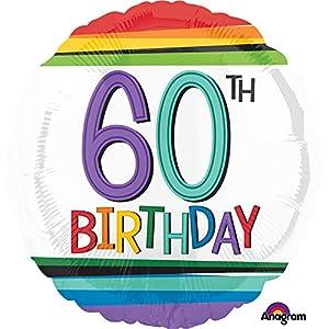 Amscan International-Globo en forma de 3443701cumpleaños 60, arco iris