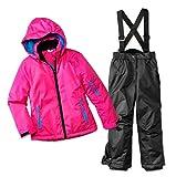 Pocopiano 2tlg. Funktioneller Skianzug Für Mädchen Gr. 128 Farbe. Rosa-Schwarz Schneeanzug Thinsulate Skijacke Schneehose …