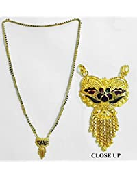 DollsofIndia Gold Plated Mangalsutra With Pendant - 25.25 Inches (HQ78-mod) - Black, Golden