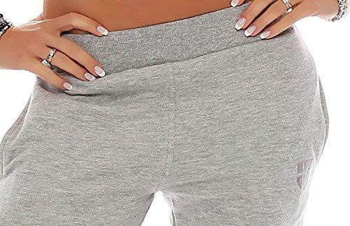 Gennadi Hoppe Damen 3/4 Trainingshose Sporthose kurze Hose Sport Fitness Jogginghose Shorts Barmuda Hellgrau