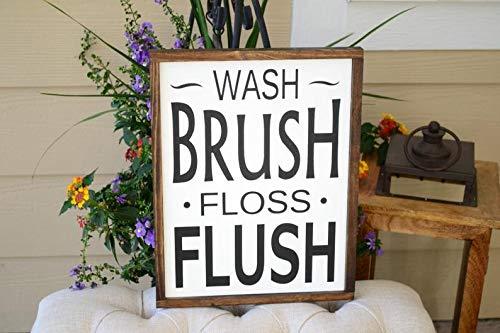 Derles Wood Wash Brush Floss Flush 9x12 Framed Wood Sign -