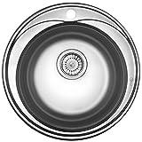 Runde Edelstahl Spüle RD2 Rundbecken Spülbecken Edelstahlspüle Einbauspüle + Großes Zubehör Mikrogenoppt Kratzfest Küchenspüle/Küchen Spüle/Einbau Spüle + Großes Zubehör Mikrogenoppt Kratzfest NEU