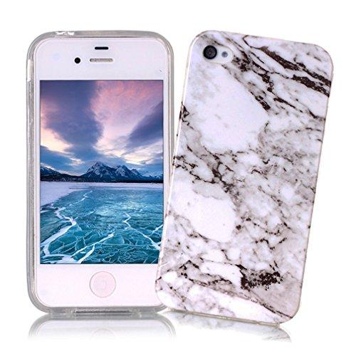 Coque iPhone 4/4S XiaoXiMi Etui en Marbre Texture Housse de Protection Soft TPU Silicone Case Cover Coque Flexible Lisse Etui Ultra Mince Poids Léger Housse Anti Rayure Anti Choc pour iPhone 4/4S - Blanc