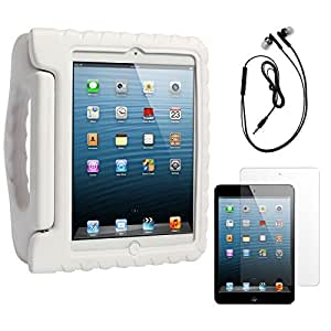 DMG Shock Proof Child Safe Styrofoam Protective Back Cover Case With Handle Stand for Apple iPad Mini (White) + Black Earphones + Matte Screen