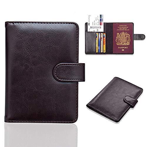Young & Ming Funda de Pasaporte para Viaje Bloqueo RFID Porta Pasaporte de Cuero PU Cartera de Pasaporte para Documentos con Hebilla Magnética, Marron Oscuro