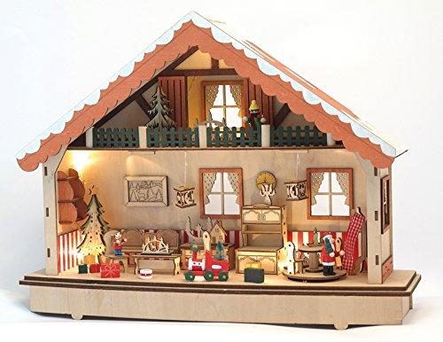 Lichterhaus Weihnachtshaus für Batteriebetrieb mit Timerfunktion 45x13x35cm NEU Fensterdekoration Fensterbild