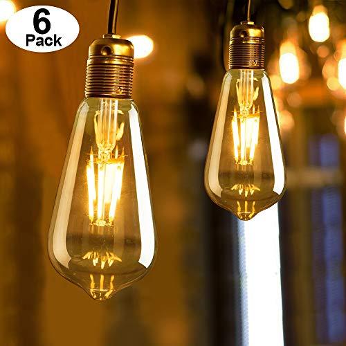 Edison Vintage Glühbirne E27,MMTX 6 Stück LED Warmweiss 4W /220V Dimmbar Retro Lampe Antike Glühbirne Ideal für Nostalgie und Retro Beleuchtung im Haus Café Bar usw